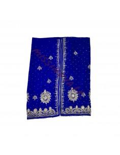 Sari indien Bleu Royal Perlé