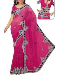 Sari indien haute gamme Rose