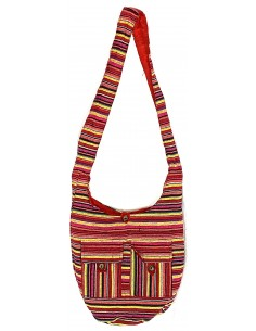 Sac besace ethnique rayé rouge