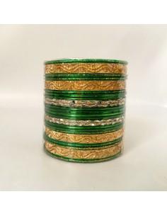 Bracelets bangles doré et vert