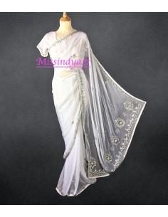 Sari blanc & argenté pavitra
