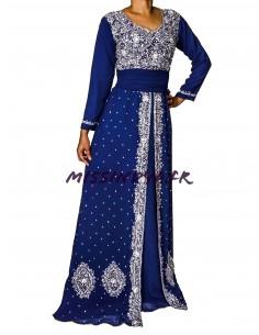 Robe indienne de Soirée Dhamak style caftan bleu Marine  - 1