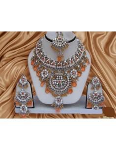 Parure Bijoux indiens pas cher Argenté & Orange  - 1
