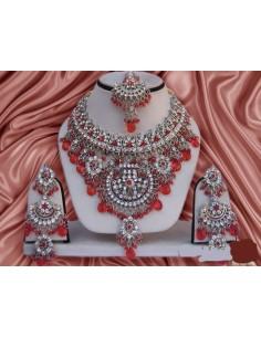 Parure Bijoux indiens pas cher Argenté & Rouge  - 1