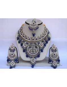 Parure Bijoux indiens pas cher Argenté & Bleu royal  - 1