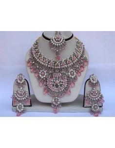Parure Bijoux indiens pas cher Argenté & Rose  - 1