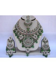 Parure Bijoux indiens pas cher Argenté & Vert  - 1
