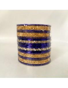Bracelet Bangles doré et bleu