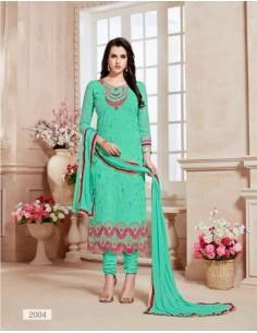 Tenue indienne Salwar Kameez Varsha Bleu vert  - 1
