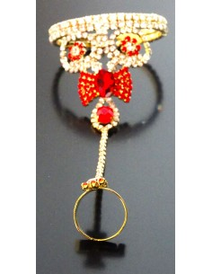 Bijoux de main Doré & Rouge  - 1