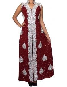 Robe indienne de soirée dhkamak cristal Argenté et rouge SEPT16  - 1