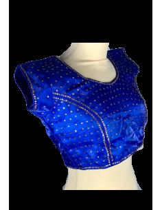 Choli haut sari Bleu MR181