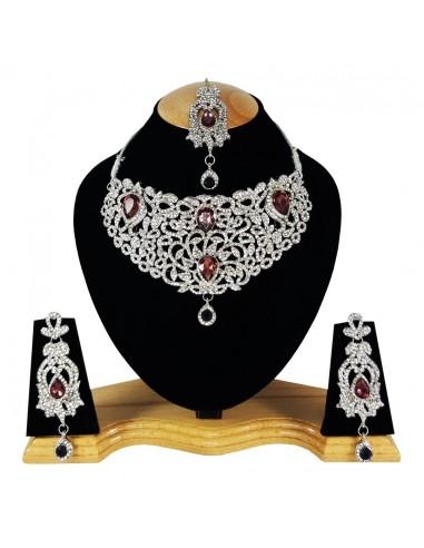 Parure Argenté collier indien Violet...