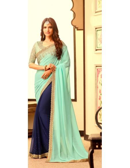 Parure Bijoux indienne Bollywood 4 pièces Argenté Bleu royale sonali