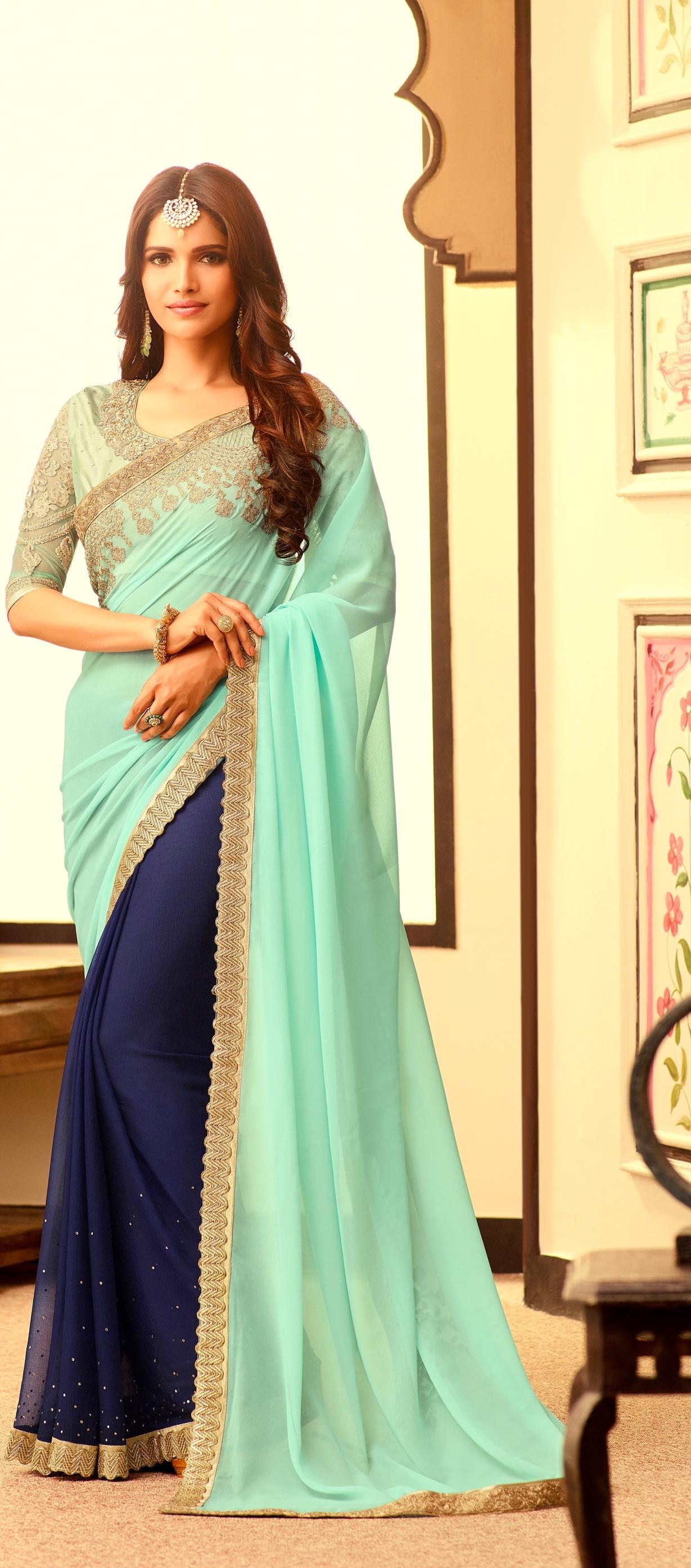 Parure Bijoux indienne Bollywood 4 pièces Argenté Bleu royale sonali e006fc0d9720