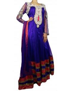 Tenue indienne Salwar Kameez Haute Gamme Violet Manche perlé  - 1