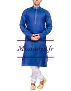 Tunique indien kurta homme bleu  - 1