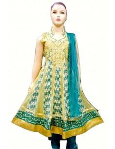 Salwar Kameez Enfant Pavitra Bleu Vert  - 1