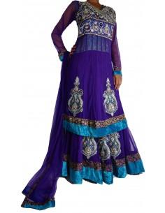 Tenue indienne sari Latcha perlée Violet  - 1
