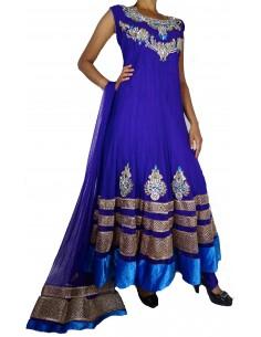 Tenue indienne Salwar Kameez  Gamme prestige  Violet & or  - 1