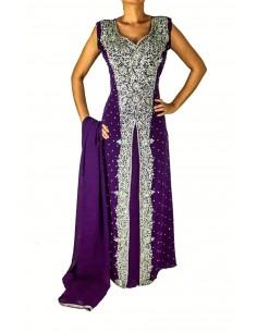 Robe indienne de Soirée dhamak violet et argenté JU17  - 1