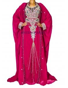 Robe de Dubai Cape rose et argentés  - 1