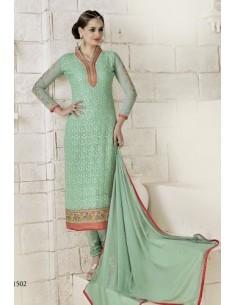 Salwar Kameez Neha Bleu Vert  - 1