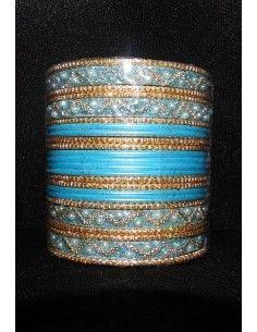 Bangles Doré et Bleu Turquoise