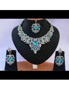 Parure Bijoux indiens Bollywood argenté bleu & turquoise NV141  - 1