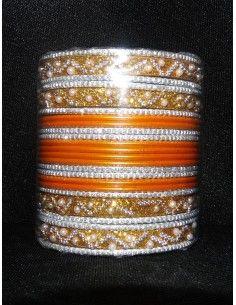 Bangles Argenté et Orange