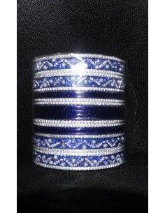 Bangles Argenté et Bleu Marine