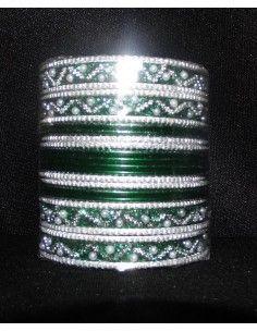 Bangles Argenté et Vert Fonçé