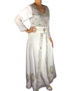 Robe indienne de Soirée dhamack style caftan blanc et argent  - 1
