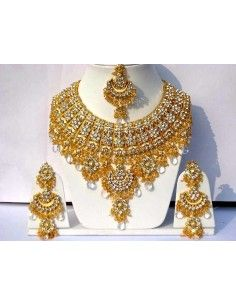 Parure Bijoux indiens Bollywood Doré Blanc  - 1