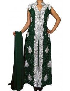 Robe indienne de soirée dhkamak cristal Argenté et Vert SEPT16  - 1
