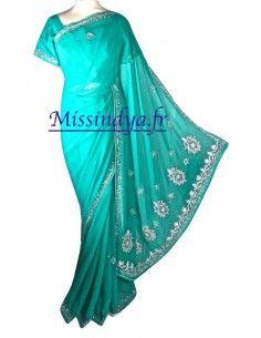 Sari indien perle bleu vert...