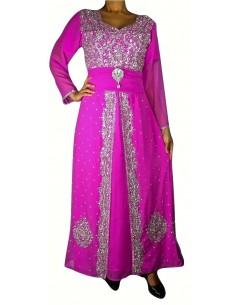 Robe indienne de Soirée Style caftan Rose  - 1