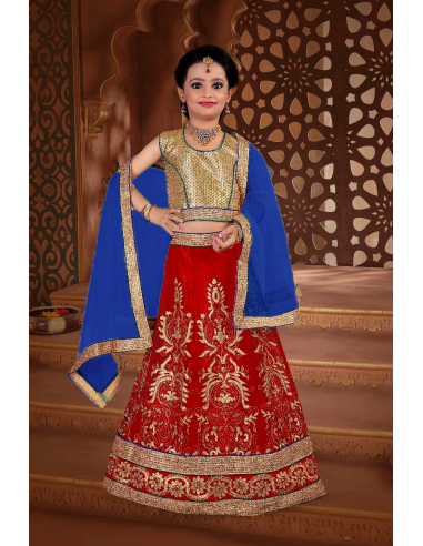 Lehenga choli fille Khush Rouge Doré