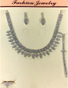 Parure bijoux argenté Bleu Deepa