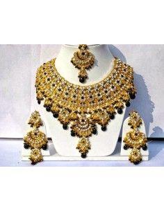 Parure Bijoux indiens Bollywood doré noire  - 1