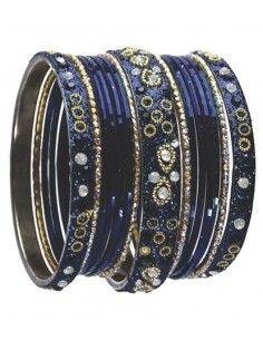 Bangles bleu perlé mina