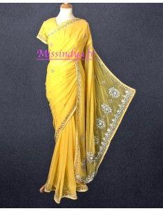 Sari indien jaune & argenté...