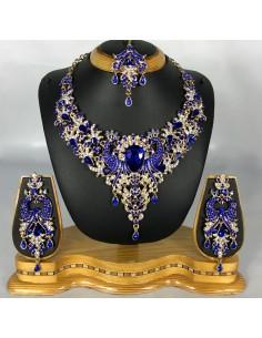 Parure bijoux indien Bleu doré