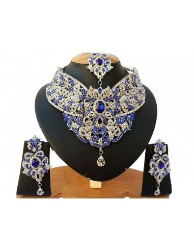Parure bijoux indiens oriental bleu...
