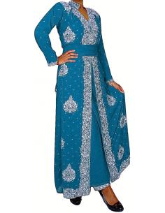 Robe indienne de soirée Bleu Argenté perlé AV18  - 1
