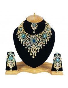 Parure indienne Bollywood doré Ravi bleu turquoise  - 1