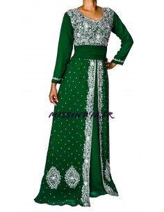 Robe indienne de Soirée Dhamak style caftan vert  - 1
