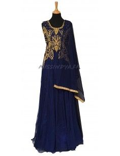 Robe indienne de Soirée Salmaa bleu marine  - 1