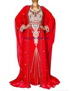Robe de Dubai Avec cape rouge et argentés  - 1