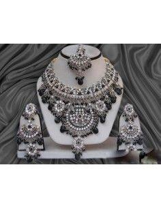Parure bijoux indiens Argenté Noire offre spéciale  - 1